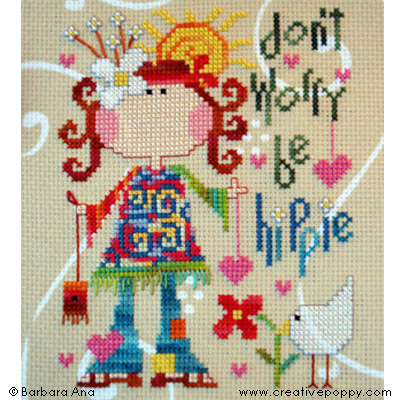 Be hippie cross stitch pattern by Barbara Ana Designs, zoom 1