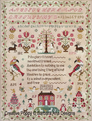 Country stitching american heritage sampler stamped cross stitch kit.