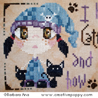 Cattitude cross stitch pattern by Barbara Ana Designs, zoom 1