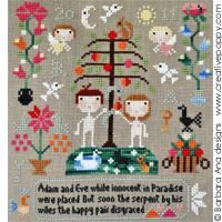 Adam & Eve - cross stitch pattern - by Barbara Ana Designs