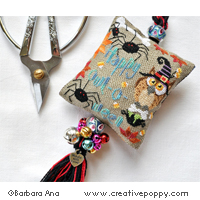 <b>Owl-o-ween Scissor Fob</b><br>cross stitch pattern<br>by <b>Barbara Ana Designs</b>
