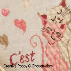 Pair of cats (L'Amour), Cross stitch pattern chart designed by Chouett'alors
