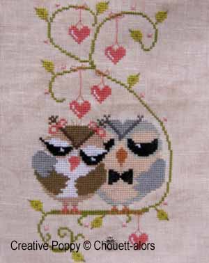 Love Birds  - Cross stitch pattern chart designed by Chouett'alors