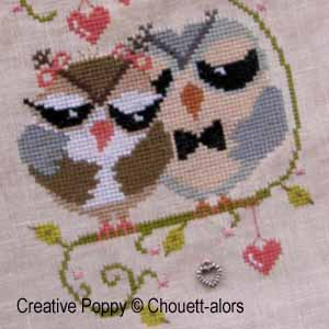 Love Birds  - Cross stitch pattern chart designed by Chouett'alors (zoom1)