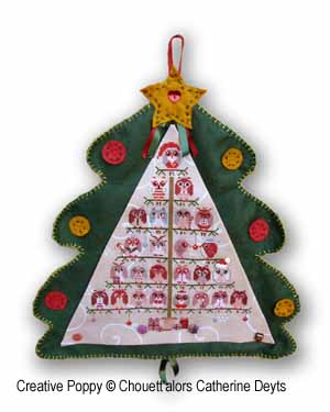 Christmas Owls Tree, advent calendar: Cross stitch pattern designed by Chouett'alors