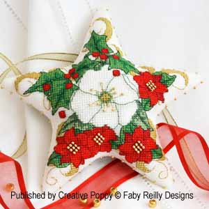 Faby Reilly Christmas Rose Star (Xmas ornament) - cross stitch pattern
