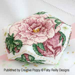 Peony Biscornu, counted cross stitch chart, designed by Faby Reilly Designs