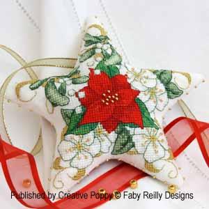 Faby Reilly - Poinsettia Star (Xmas ornament) cross stitch pattern