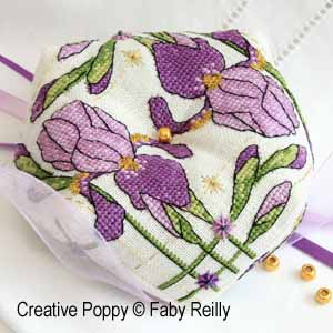 Faby Reilly - Purple Iris Biscornu (cross stitch pattern chart)