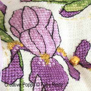Faby Reilly - Purple Iris Biscornu (cross stitch pattern chart) (zoom1)