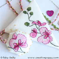 Plum orchid Scissor case - cross stitch pattern - by Faby Reilly Designs