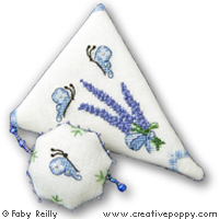 Lavender Bouquet Scissor case - cross stitch pattern - by Faby Reilly Designs