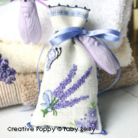 Lavender Sachets (2 bags) - cross stitch pattern - by Faby Reilly Designs