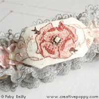 Sepia Rose Garter and Gift tag - cross stitch pattern - by Faby Reilly Designs