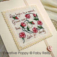 <b>Sweet roses card</b><br>cross stitch pattern<br>by <b>Faby Reilly Designs</b>