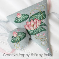 Pink lotus Scissor case and fob - cross stitch pattern - by Faby Reilly Designs