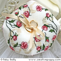 Sweet roses Biscornu - Wedding ring cushioncross stitch patternby Faby Reilly Designs