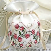 Sweet roses pouch - cross stitch pattern - by Faby Reilly Designs