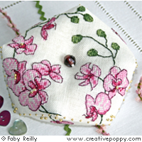 Plum orchid biscornu - cross stitch pattern - by Faby Reilly Designs