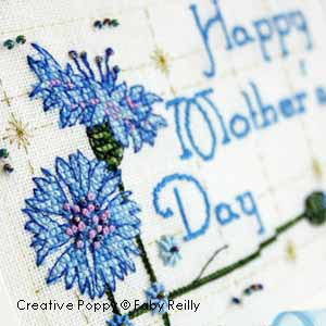 Mother's Day card to cross stitch - cornflower