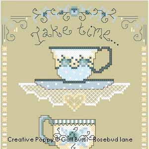 Take Time, counted cross stitch chart, designed by Gail Bussi, Rosebud Lane