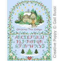 Christmas tree cottage - cross stitch pattern - by Gail Bussi - Rosebud Lane