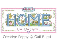 Welcome pattern to cross stitch by Gail Bussy