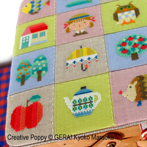 The Patchwork Basket cross stitch pattern by GERA! Kyoko Maruoka