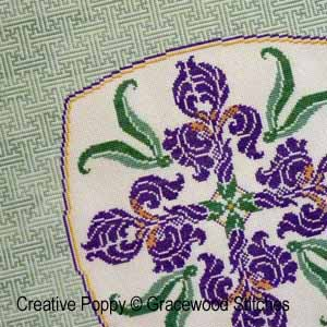 Celadon Iris, counted cross stitch chart, designed by XXX