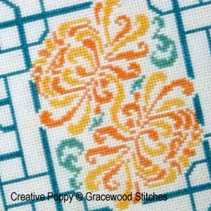 Gracewood Stitches, Chrysanthemum Korean style screen (cross stitch pattern chart)