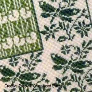 Gracewood Stitches design by Kathy Bungard -  Log cabin - Spring - cross stitch pattern (zoom1)