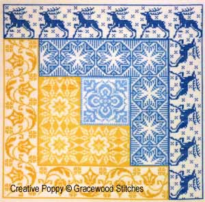 Log cabin cross stitch patterns designed by <b>Gracewood Stitches</b>