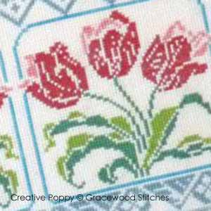 Tulips' praise, counted cross stitch chart, designed by Gracewood Stitches