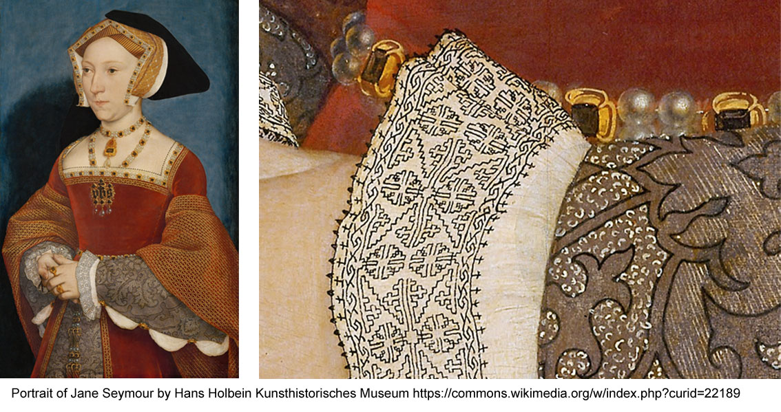 Blackswork motifs where used mostly on collars and cuffs
