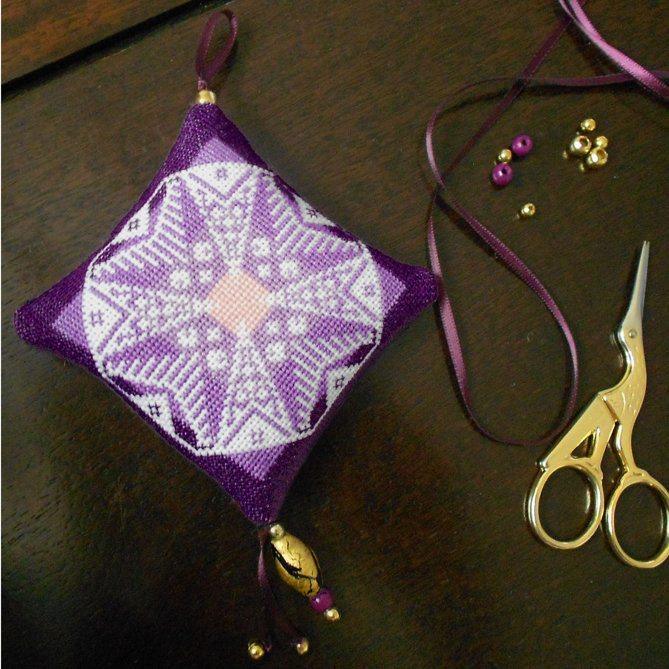 Jewel-like Finishing Tutorial for stitched Ornaments