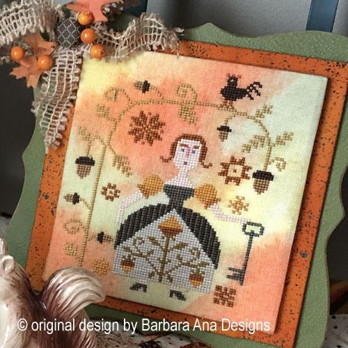 Autumn Keeper cross stitch pattern by Barbara Ana Designs