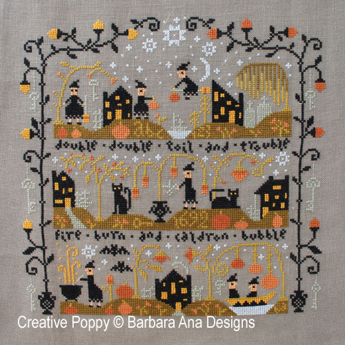 Black cat Hollow - by Barbara Ana Designs - whole design withall 3 parts stitched together
