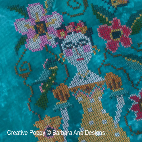 Frida cross stitch pattern by Barbara Ana Designs, zoom 1