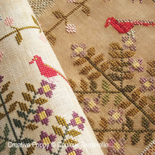 Couleur Tourterelle Original and Reproduction sampler side by side