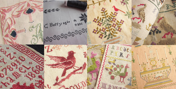 cross stitch reproduction Samplers by Couleur Tourterelle