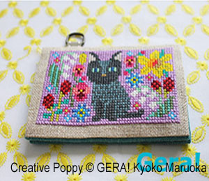 Card cases with Flowers (3) Counted cross stitch pattern by GERA! Kyoko Maruoka
