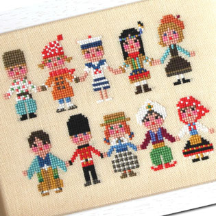 Childen of the World cross stitch patterns designed by <b>GERA! by Kyoko Maruoka</b>