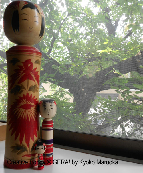 A collection of kokeshi dolls (antique, modern, cross stitch)