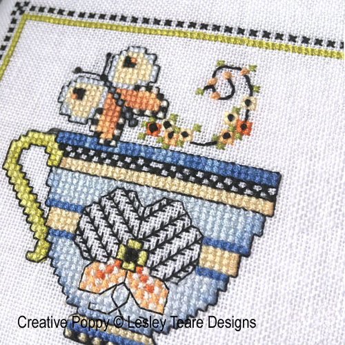 Tea Cup SAL 2021 - Subscription cross stitch pattern by Lesley Teare Designs, January Cup