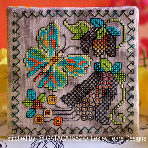 Blackwork Butterfly cards cross stitch pattern by Lesley Teare Designs, zoom 1