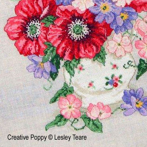 Floral cross stitch patterns designed by <b>Lesley Teare</b>