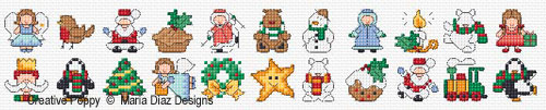 22 of Maria Diaz Christmas mini motifs, are small enough to fit into a 14 x 14 stitch square
