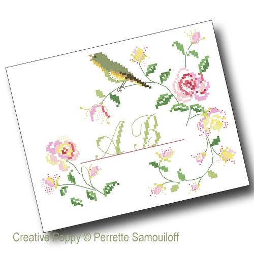 Singing Bird Rose Heart cross stitch pattern by Perrette Samouiloff