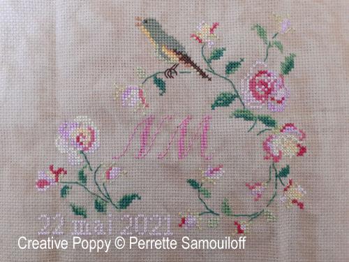 Singing Bird Rose Heart cross stitch pattern by Perrette Samouiloff, zoom 1