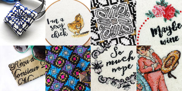 Peacock and Fig cross stitch patterns designed by Dana Batho
